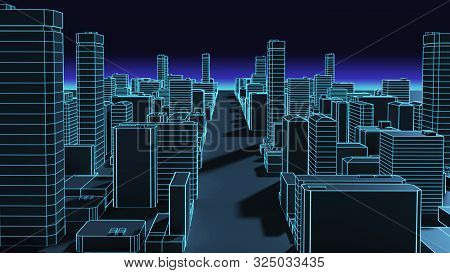 Smart City And  Digital Landscape In  Cyber World.3D Illustration