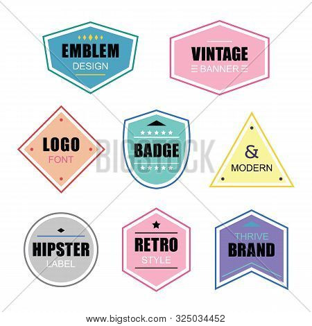 Colorful Different Shapes Retro And Vintage Labels And Badges Icons Banners Set On White Background