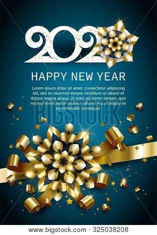 Happy New Year, Gold. Greeting Card With 2020 With Christmas Ball. Background, Banner, Poster. Vecto