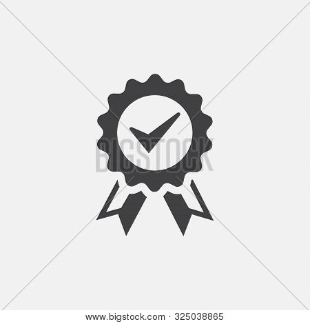 Approved Or Certified Medal Icon. Award Symbol. Approved Or Certified Medal Icon In A Flat Design. A