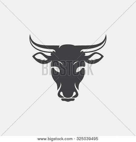 Cow Head Logo Design Vector, Cow Emblem, Long Horned Head Illustration, Farming Logo