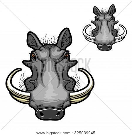 Warthog Boar Animal Vector Icon With Head Of Wild Pig Or African Razorback Hog With Curved Tusks, An