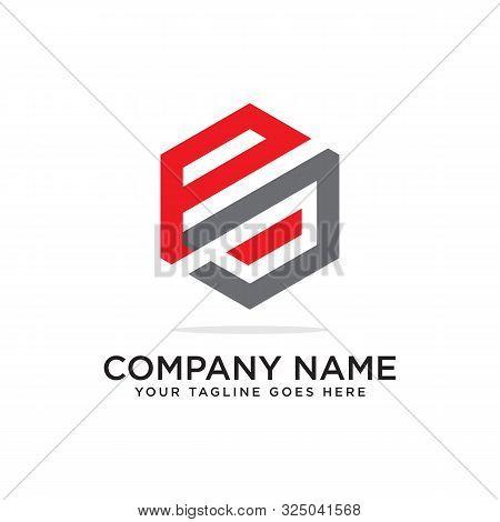 P And J Logo Design Template, Initial Logo Vector, Hexagonal Logo Inspiration