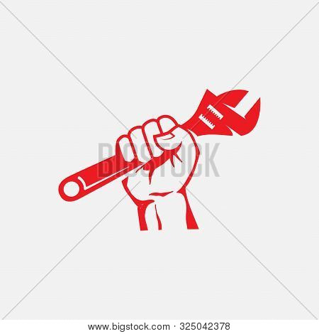 Handy Man Service Icon, Tools Logo Icon, Hand Up With Hummer Logo Design Illustration