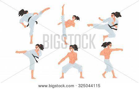 Male Karate Fighter In White Kimono Practicing Martial Art Set, Athlete Doing Karate Vector Illustra