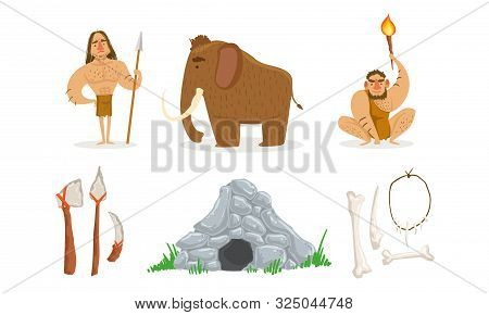 Prehistoric Stone Age Set, Primitive People, Mammoth, Weapon, Stone Cave Vector Illustration