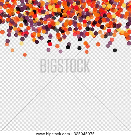Confetti Polka Dot Halloween Background. Orange Black Falling Paper Circles On Transparent Backgroun