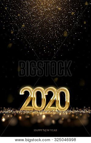 2020 New Year Luxury Design Concept. Vector Golden 2020 New Year Vertical Template With Falling Gold