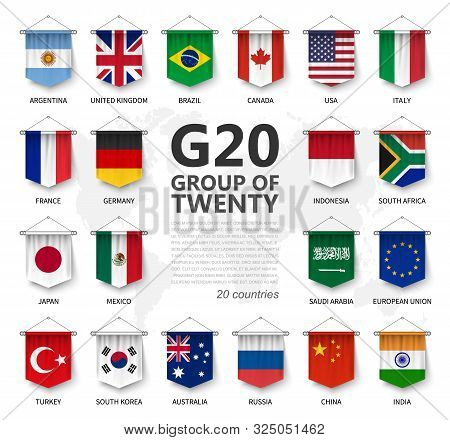 G20 . Group Of Twenty Countries And Membership Flag . International Association Of Government Econim