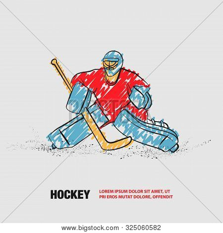 Hockey Goalie Positioning. Vector Outline Of Hockey Player With Scribble Doodles.