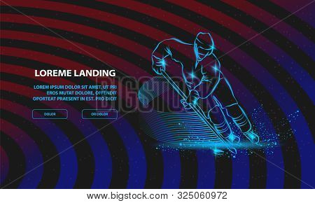Hockey Player In Dynamic Gliding On Ice With A Hockey Stick And Puck. Vector Sport Background For La