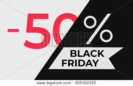 Black Friday Discount Banner. Canvas Is Divided Into Two Parts At An Angle. On The White Part - Larg