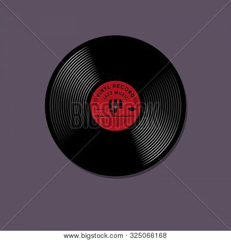 Vinyl Record Model. Mock Up Of Music Vinyl Record With Red Label.