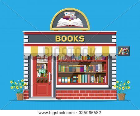 Bookstore Shop Exterior. Books Shop Brick Building