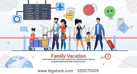 Family Vacation Travelling Advertising Poster. Two Married Couples With Children And Luggage In Airp