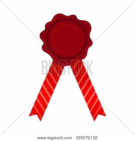 Straight Bright Red Ribbons With Empty Rosette In The Center Vector Illustration poster