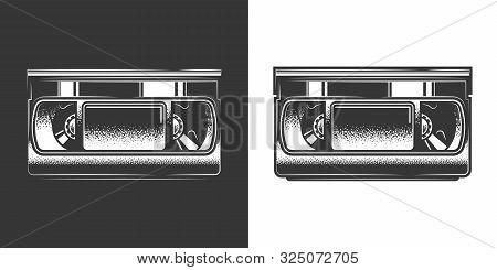 Original Monochrome Vector Illustration. Old Vhs Videotape In Retro Style
