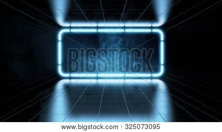 Futuristic Neon Lights Glowing In Room With Glossy Concrete Tiles Floor. 3d Rendering