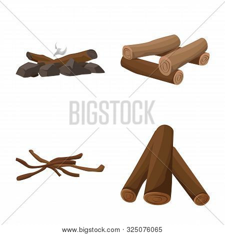 Vector Illustration Of Timber And Nature Symbol. Set Of Timber And Construction Stock Vector Illustr