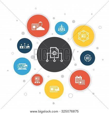 Content Management Infographic 10 Steps Bubble Design.cms, Content Marketing, Outsourcing, Digital C