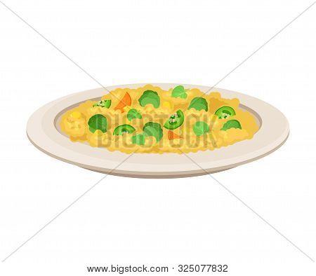 Vector Isometric Illustration Of Porridge With Vegetables Isolated On White Background.