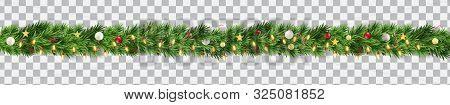 Wide Christmas Border Garland Fromf Fir Branches, Balls, Pine Cones And Other Ornaments, Isolated On
