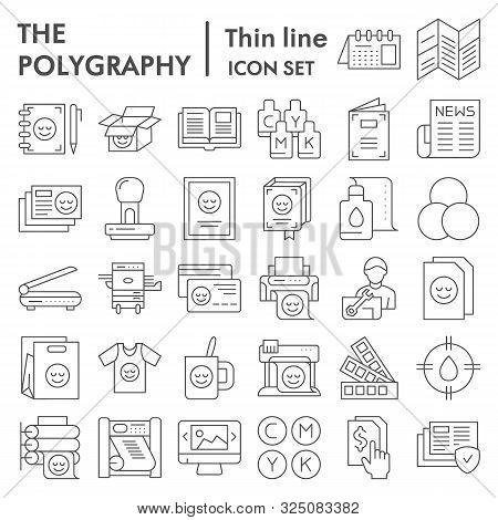 Polygraphy Thin Line Icon Set, Printing Symbols Collection, Vector Sketches, Logo Illustrations, Pub
