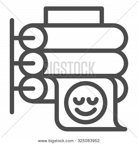 Printing Press Line Icon. Large Format Printer Vector Illustration Isolated On White. Placard Printi