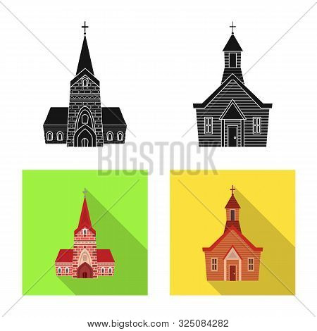 Isolated Object Of Cult And Temple Logo. Collection Of Cult And Parish Vector Icon For Stock.
