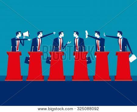 Politicians Participating In Political Debate. Concept Business Team Vector Illustration, Teams, Deb