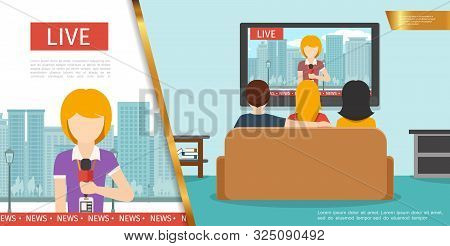 Flat Tv News Concept With Journalist Holding Microphone On Cityscape And People Watching News On Tel