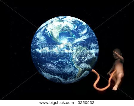 Baby Umbilical Cord Attached To Earth