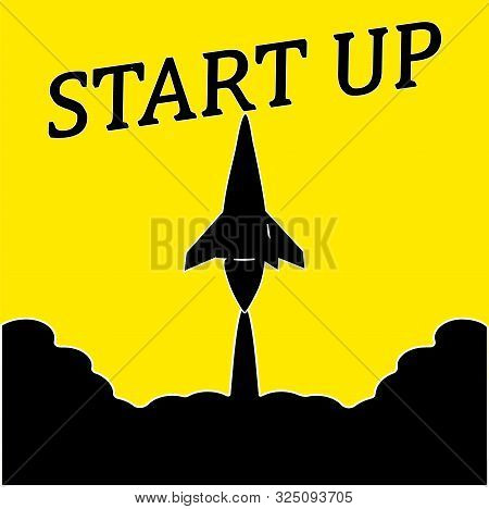 Business startup . A black silhouette, a rocket takes off from the clouds . Yellow. The name of the black startup. illustration