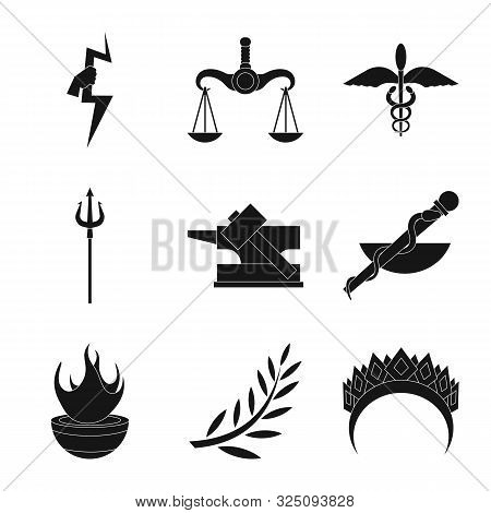 Vector Illustration Of Religion And Myths Logo. Set Of Religion And Greek Vector Icon For Stock.