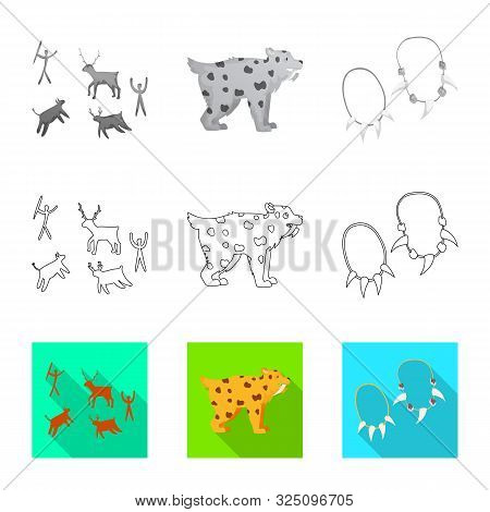 Vector Illustration Of Evolution And Neolithic Icon. Set Of Evolution And Primeval Vector Icon For S