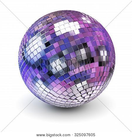Disco Ball. 3d Generated Image. White Background.