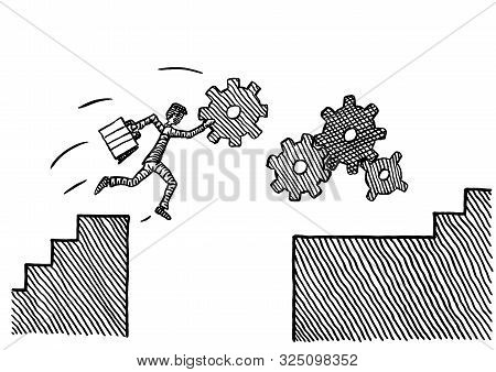 Freehand Pen Drawing Of A Business Man With Cog Wheel In Hand Jumping Over Chasm Towards A Gear Trai