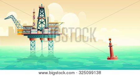 Oil Platform In Open Sea. Oil Extraction, Fuel Production Industry Offshore Drilling Rig In Ocean Wi