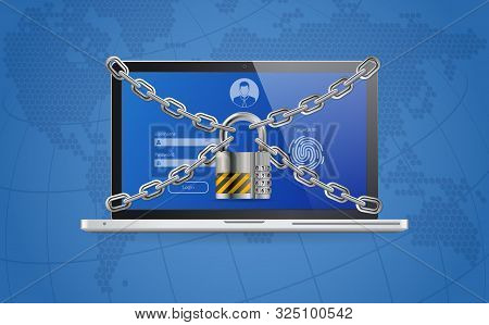 Computer Cyber Internet And Personal Data Security Protection Web Banner. Laptop With Lock, Chain, L