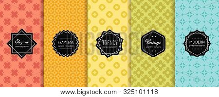 Geometric Seamless Patterns Collection. Vector Set Of Minimal Floral Background Swatches With Elegan