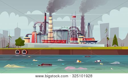 Background With Environmental Pollution. Factory Plant Smokes With Smog, Trash Emission From Pipes T