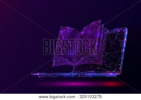 Laptop And Book Low Poly Vector Illustration. 3d Open Textbook. Polygonal Notebook Display Mesh Art