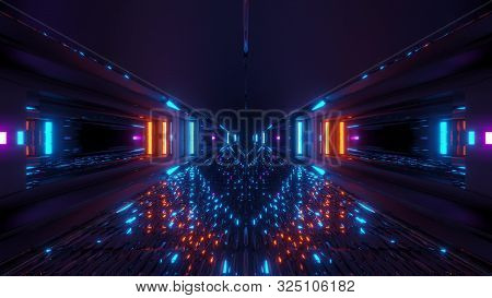 Futuristic Glowing Scifi Tunnel Corridor With Many Nice Reflections 3d Rendering Wallpaper Backgroun