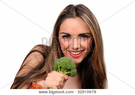 Portrait Of Beautiful Girl With Green Broccolli