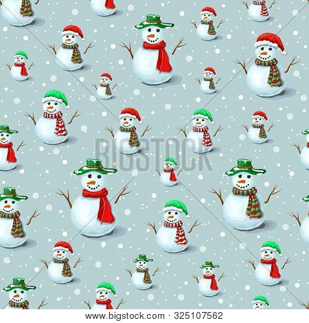 Vector Seamless Christmas Snowman Pattern With Snowflakes On Gray Backdrop. Cute Snowman Background
