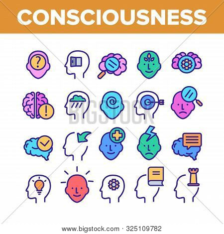 Consciousness Collection Elements Icons Set Vector Thin Line. Human Silhouette With Light Bulb And L