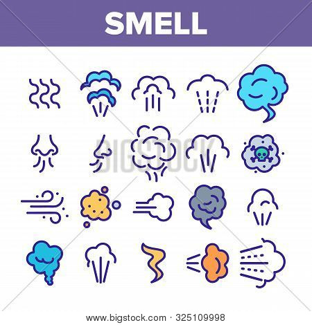 Smell Cloud Collection Elements Icons Set Vector Thin Line. Smell Of Cooking Food Vapour Smoke, Gas