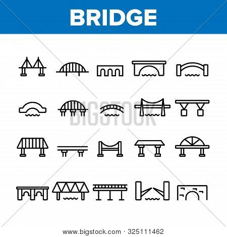 Bridge Construction Collection Icons Set Vector Thin Line. Concrete And Metal, Suspended And Pedestr