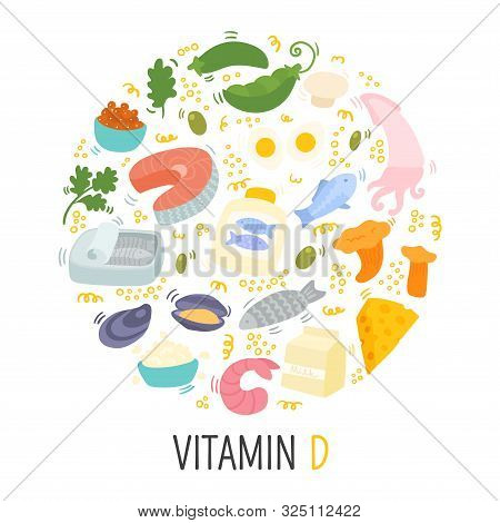 Vitamin D Doodle Flat Illustration In Circle. Hand Drawn Illustration Of Different Food Rich Of Vita