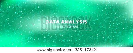 Blue Technology Pattern. Big Data Screen. Glow 3d Tech Abstract. Matrix Digits. Neon Technology Abst